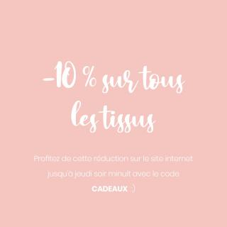 C'est parti pour la surprise du vendredi !! 😍  A partir de ce matin et jusqu'à jeudi prochain minuit 👉 -10 % sur TOUS les tissus du site internet avec le code CADEAUX !! 🎉  Wouhouuuuuu !   #tissu #couture #coutureaddict #instacouture #surprise #promo #codepromo #promotissu #passioncouture #tissusaddict #sewing #projetcouture #promotion